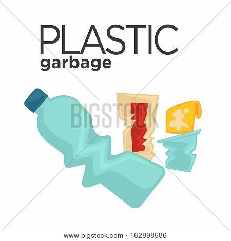 Vector symbol of plastic garbage or trash. Rubbish icon: plastic bottle and junk. Illustration of waste recycling and trash sorting. Design element for pollution and ecology isolated on white