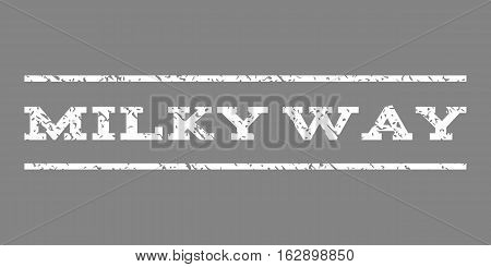 Milky Way watermark stamp. Text tag between horizontal parallel lines with grunge design style. Rubber seal stamp with dirty texture. Vector white color ink imprint on a gray background.