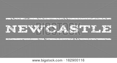 Newcastle watermark stamp. Text tag between horizontal parallel lines with grunge design style. Rubber seal stamp with unclean texture. Vector white color ink imprint on a gray background.