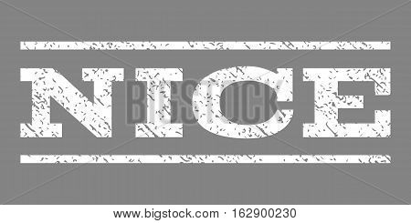 Nice watermark stamp. Text caption between horizontal parallel lines with grunge design style. Rubber seal stamp with dust texture. Vector white color ink imprint on a gray background.