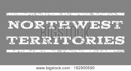 Northwest Territories watermark stamp. Text tag between horizontal parallel lines with grunge design style. Rubber seal stamp with dirty texture. Vector white color ink imprint on a gray background.