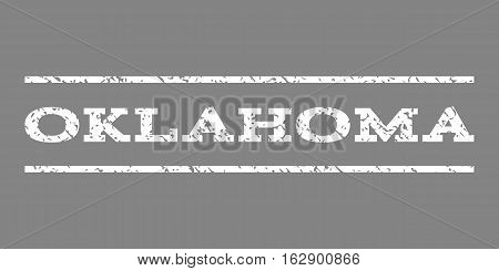 Oklahoma watermark stamp. Text caption between horizontal parallel lines with grunge design style. Rubber seal stamp with dirty texture. Vector white color ink imprint on a gray background.