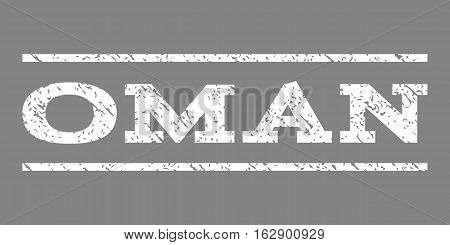 Oman watermark stamp. Text caption between horizontal parallel lines with grunge design style. Rubber seal stamp with dirty texture. Vector white color ink imprint on a gray background.