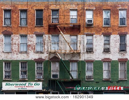 Facade Of An Old Building In Manhattan