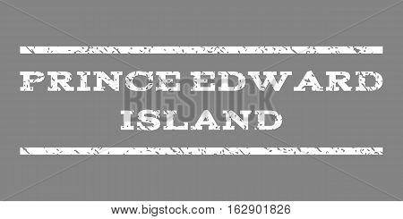 Prince Edward Island watermark stamp. Text caption between horizontal parallel lines with grunge design style. Rubber seal stamp with dust texture. Vector white color ink imprint on a gray background.