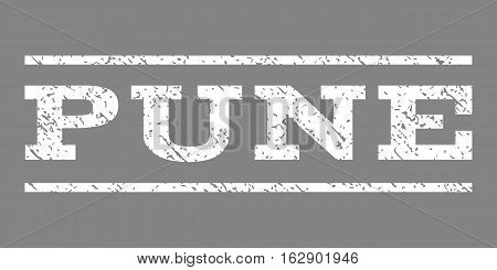 Pune watermark stamp. Text caption between horizontal parallel lines with grunge design style. Rubber seal stamp with scratched texture. Vector white color ink imprint on a gray background.