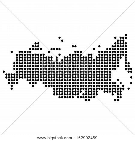 The map of the Russian Federation, is made of round dots, dashes. Original abstract vector illustration for your design.