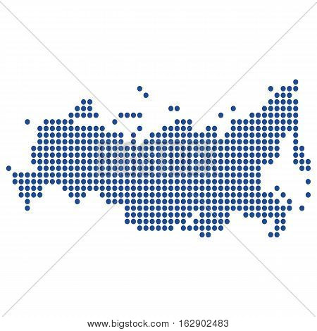 The map of the Russian Federation, is made of round blue dots, dashes. Original abstract vector illustration for your design.