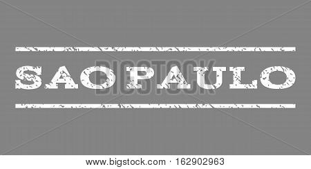 Sao Paulo watermark stamp. Text caption between horizontal parallel lines with grunge design style. Rubber seal stamp with dirty texture. Vector white color ink imprint on a gray background.