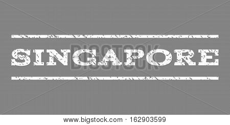 Singapore watermark stamp. Text tag between horizontal parallel lines with grunge design style. Rubber seal stamp with unclean texture. Vector white color ink imprint on a gray background.