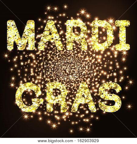 Mardi Gras or Shrove Tuesday golden glitter text on black background. Vector Illustration.