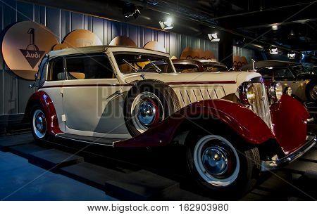 RIGA LATVIA - OCTOBER 16: Retro car of the year 1934 AUDI Front typ UW Riga Motor Museum October 16 2016 in Riga Latvia