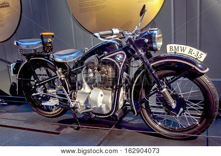 RIGA LATVIA - OCTOBER 16: Retro motorcycles of the year 1943 BMW R35 Riga Motor Museum October 16 2016 in Riga Latvia
