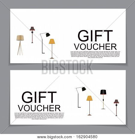 Gift Voucher Template with variation of Lamp Discount Coupon. Vector Illustration. EPS10