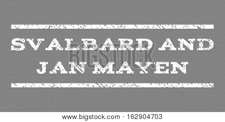 Svalbard and Jan Mayen watermark stamp. Text tag between horizontal parallel lines with grunge design style. Rubber seal stamp with dirty texture. Vector white color ink imprint on a gray background.