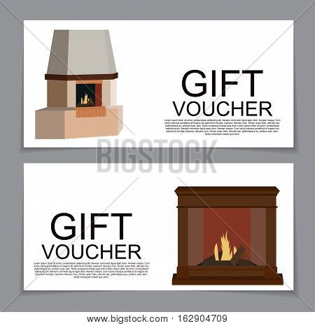 Gift Voucher Template with variation of fireplaces, stoves Discount Coupon. Vector Illustration. EPS10