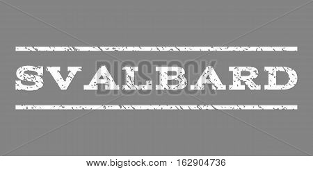 Svalbard watermark stamp. Text tag between horizontal parallel lines with grunge design style. Rubber seal stamp with dust texture. Vector white color ink imprint on a gray background.