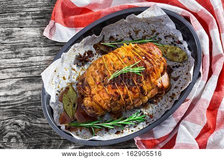 Delicious Turkey Roulade Roast In Baking Dish