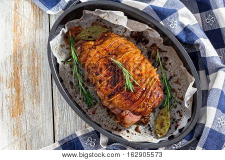 Delicious Turkey Meat Roulade Grilled  In Roasting Dish