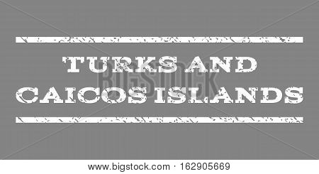 Turks and Caicos Islands watermark stamp. Text tag between horizontal parallel lines with grunge design style. Rubber seal stamp with dust texture. Vector white color ink imprint on a gray background.