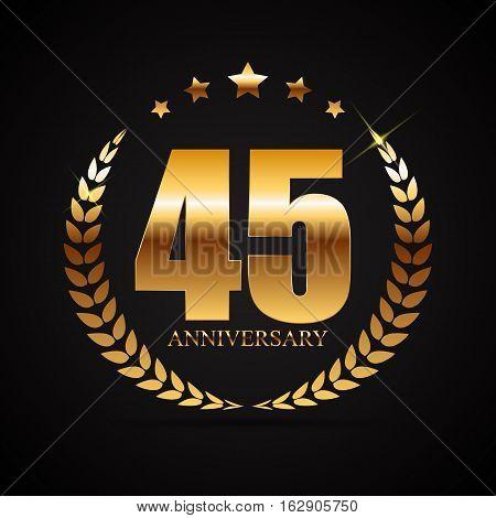 Template Logo 45 Years Anniversary Vector Illustration EPS10