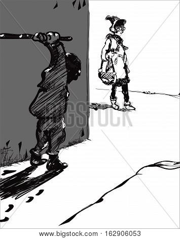 Sketch of a hooligan waiting a victim with a stick in his hands, in black and white