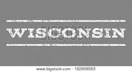 Wisconsin watermark stamp. Text tag between horizontal parallel lines with grunge design style. Rubber seal stamp with unclean texture. Vector white color ink imprint on a gray background.