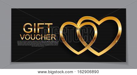 Gift Voucher Template for Valentines Day Discount Coupon  Vector Illustration EPS10