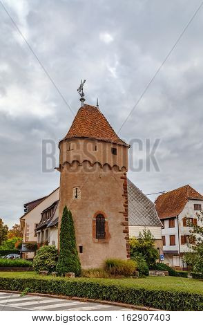 Tower of the former city fortifications in Obernai Alsace France