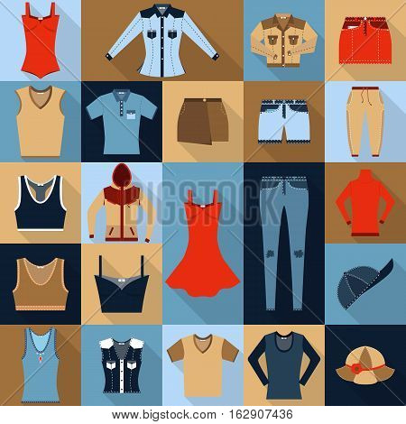 Set of twenty two flat icons. Sportswear and jeans.