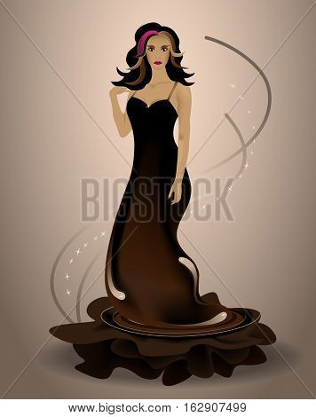 Vector illustration with fairy tale character Chocolate Fairy