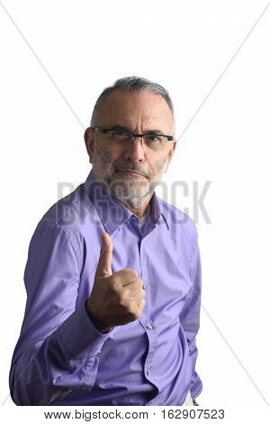 man with ok sign with a white background
