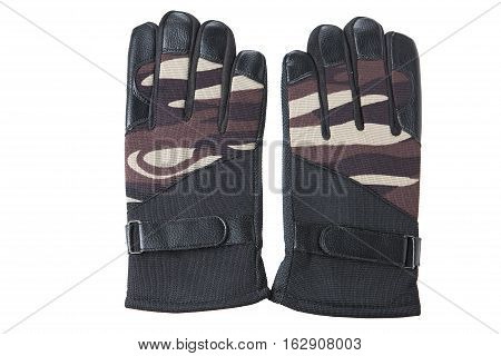 Pair of gloves for hunting and fishing on a white background