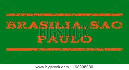 Brasilia, Sao Paulo watermark stamp. Text tag between horizontal parallel lines with grunge design style. Rubber seal stamp with dirty texture. Vector orange color ink imprint on a green background.