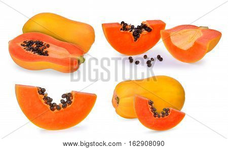 set of ripe papaya fruit isolated on white background