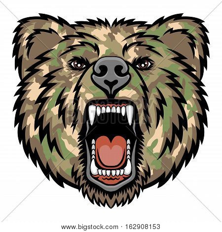 A Bear head. Perfect for paintball mascot in a military style. This is vector illustration ideal for a mascot and tattoo or T-shirt graphic.