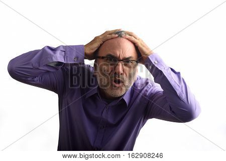 desperate Middle-aged Man with a white background