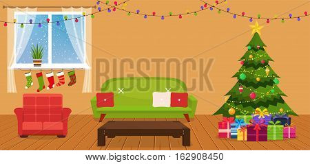 Christmas room interior with sofa writing desk and green Christmas tree by the window.