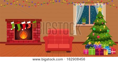 Christmas room interior with fireplace armchair and green Christmas tree by the window.
