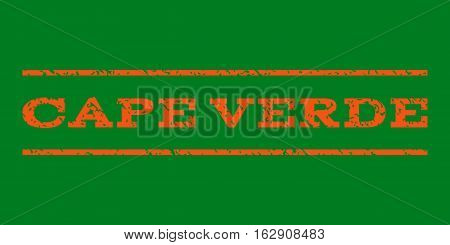 Cape Verde watermark stamp. Text caption between horizontal parallel lines with grunge design style. Rubber seal stamp with dirty texture. Vector orange color ink imprint on a green background.