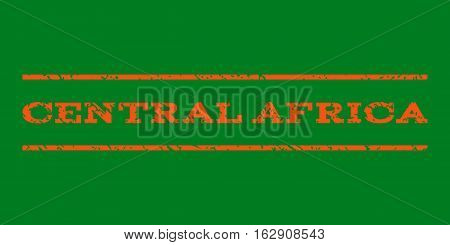 Central Africa watermark stamp. Text caption between horizontal parallel lines with grunge design style. Rubber seal stamp with scratched texture.