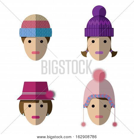 Women Icons With Wool Hats