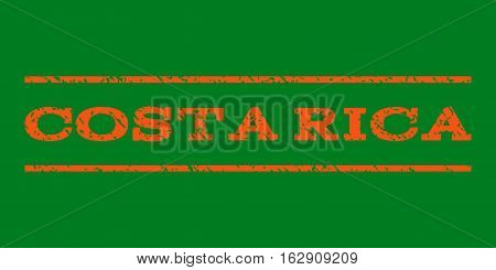 Costa Rica watermark stamp. Text caption between horizontal parallel lines with grunge design style. Rubber seal stamp with dirty texture. Vector orange color ink imprint on a green background.