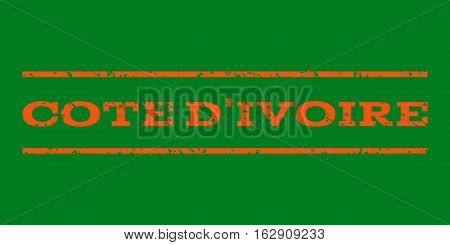 Cote D'Ivoire watermark stamp. Text caption between horizontal parallel lines with grunge design style. Rubber seal stamp with dust texture. Vector orange color ink imprint on a green background.