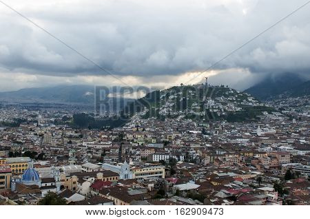 panorama of the old Quito at sunset