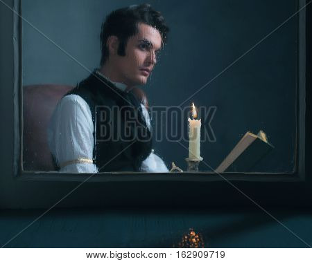 Candlelight Behind Rainy Window With Retro Victorian Man Reading Book Out Of Focus.