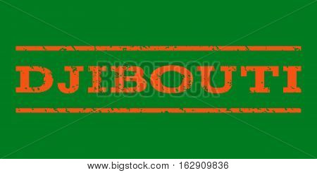 Djibouti watermark stamp. Text caption between horizontal parallel lines with grunge design style. Rubber seal stamp with dirty texture. Vector orange color ink imprint on a green background.