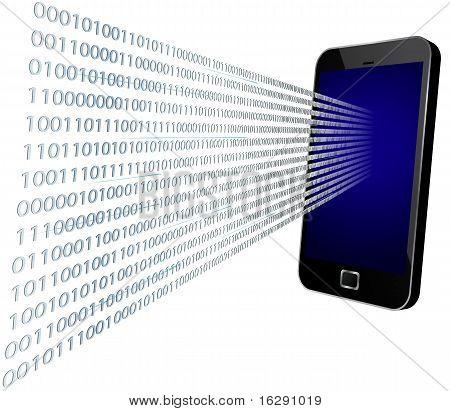Binary coming through mobile screen, vector