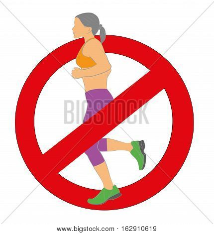 Girl runs. sign ban running. vector illustration.