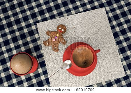 3d illustration of a kitchen table with egg coffee ad a cute gingerbread man